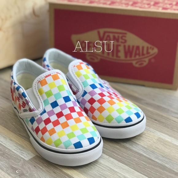 54014992e Vans Shoes   Classic Slip On Checkerboard Rainbow Kids   Poshmark